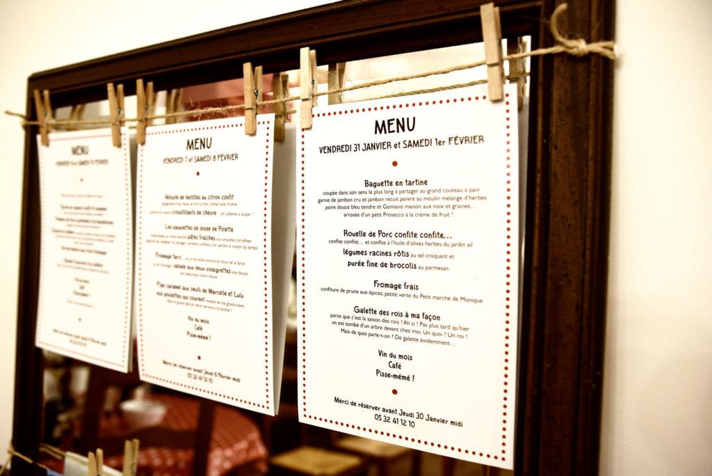 Les menus de nos trois premières fins de semaine !